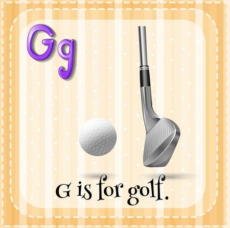 pelota caricatura: Carta Flashcard G es para el golf Vectores