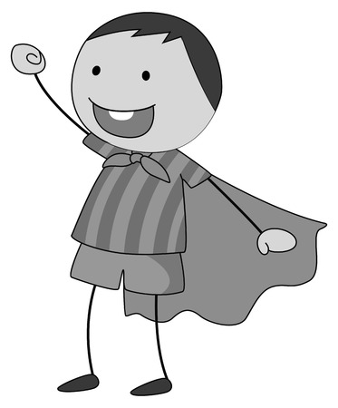 role: Boy in a role play wearing cape in black and white