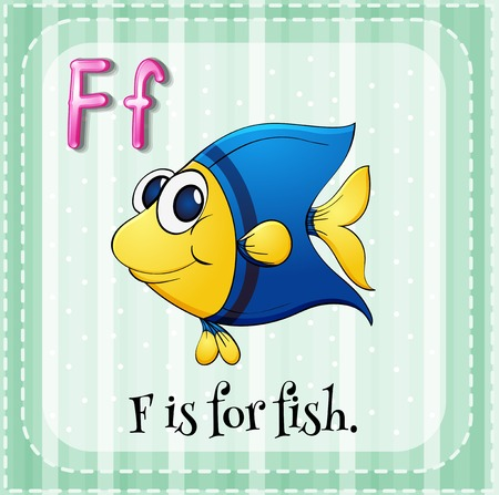 cartoon fish: Flashcard letter F is for fish