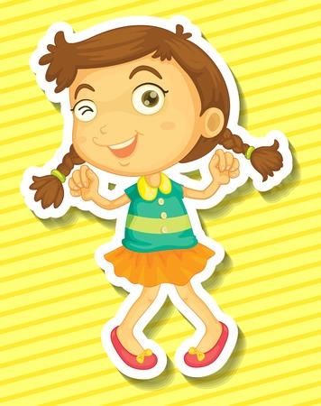 cute girl: Cute little girl in orange skirt dancing