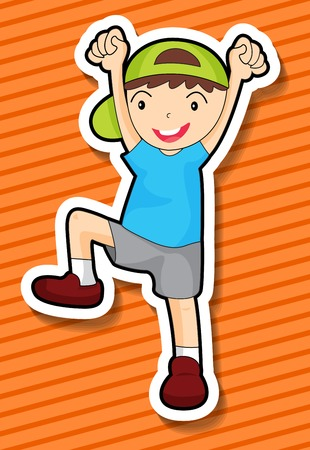 alone boy: Little boy lifting arms and leg Illustration