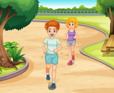 jogging in park: Couple jogging in a park with greenery environment