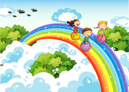 children playing outside: Children bouncing ball over the rainbow Illustration