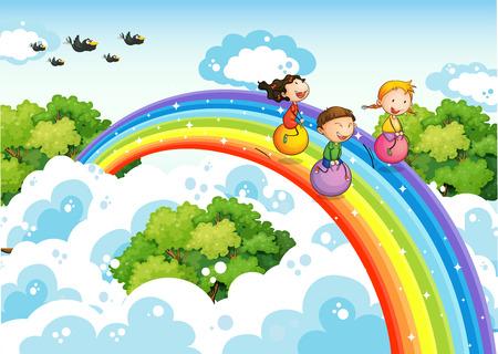 Children bouncing ball over the rainbow Illustration