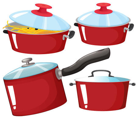 kitchenware: Flashcard of red color set with pictures of kitchenware