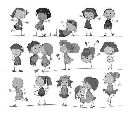 niños negros: Conjunto de los niños realizando diferentes acciones en blanco y negro