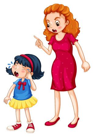 pelea: Mujer que señala el dedo mientras regaños una niña llorando en el fondo blanco