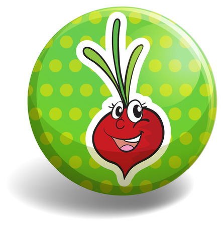 Radish with happy face on green badge
