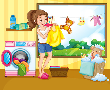 cleaning equipment: Girl washing and hanging clothes inside the house Illustration