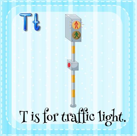 traffic light: Flashcard of letter T is for traffic light