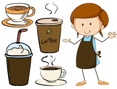 cold coffee: Waitress and different kind of beverage Illustration