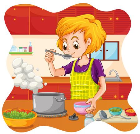 cocina caricatura: Mujer que cocina la comida en la cocina Vectores