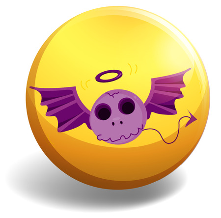fantacy: Skull with wings on yellow badge Illustration