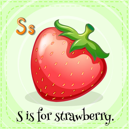 strawberry: Flashcard of alphabet S is for strawberry Illustration