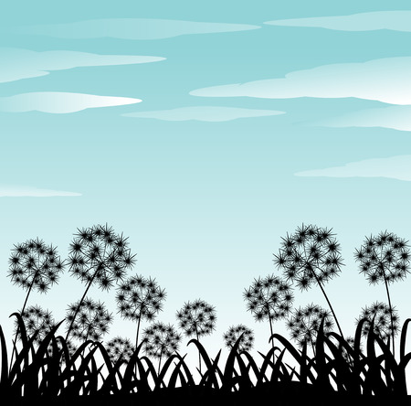 clear sky: Silhouette of flowers and gradd under clear blue sky Illustration