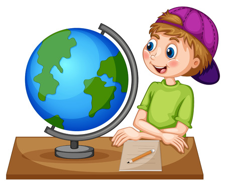 teenager boy: Boy looking at the globe Illustration