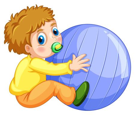 baby playing toy: Little boy playing with big ball