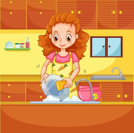 lavar trastes: Chica haciendo platos en la cocina