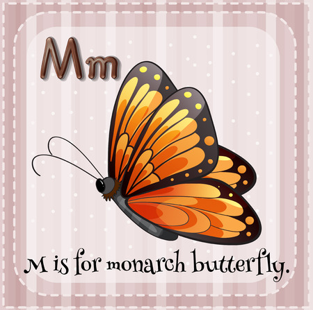 monarch butterfly: Flashcard letter M is for monarch butterfly