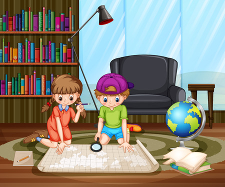 geography background: Boy and girl sitting on the floor in studying room looking in the map