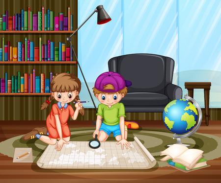 lapiz y papel: Niño y niña sentada en el suelo en la sala de estudio de mira en el mapa Vectores