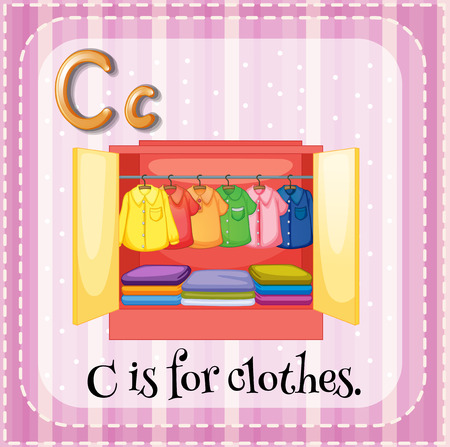 cartoon words: Flashcard letter C is for clothes