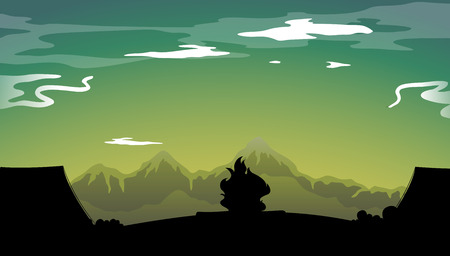 camping site: Silhouette camping site with tent and campfire Illustration