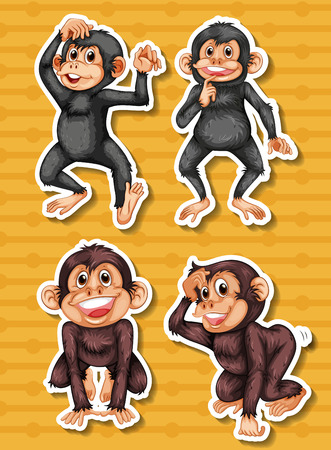 gibbon: Stickers of two black and two brown monkeys on yellow background Illustration