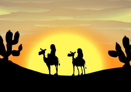 cartoon camel: Silhouette of two camels with riders traveling in desert during sunset