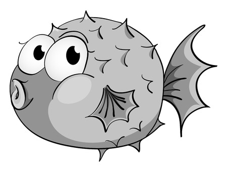 puffer: Puffer fish in black and white