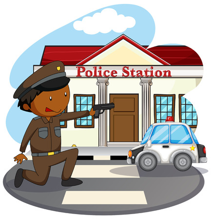 police station: Policeman in uniform and police station