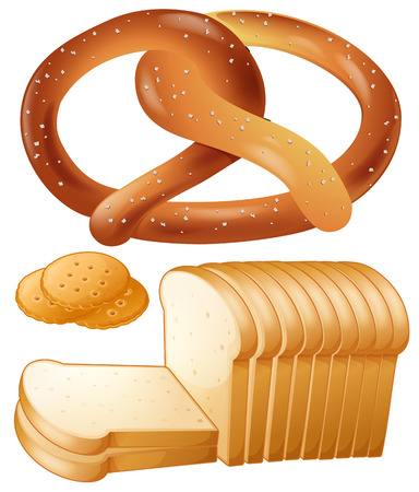 buttery: Loaf of bread and salted pretzel Illustration
