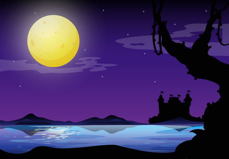 Silhouette of a full moon night with purple sky and castel on the other side of the river Illustration