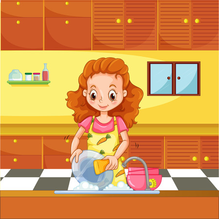 cartoon washing: Woman doing dishes in the kitchen Illustration