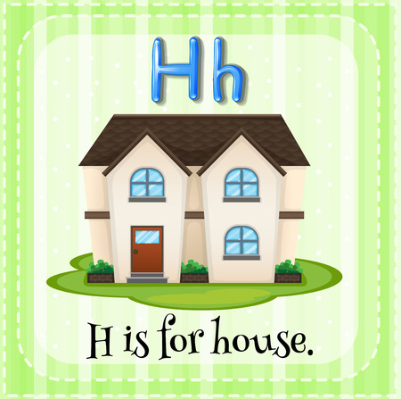 alphabet letters: Flashcard letter H is for house