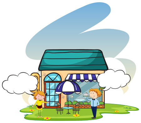 welcoming: Waiter and waitress standing outside a restaurant welcoming Illustration