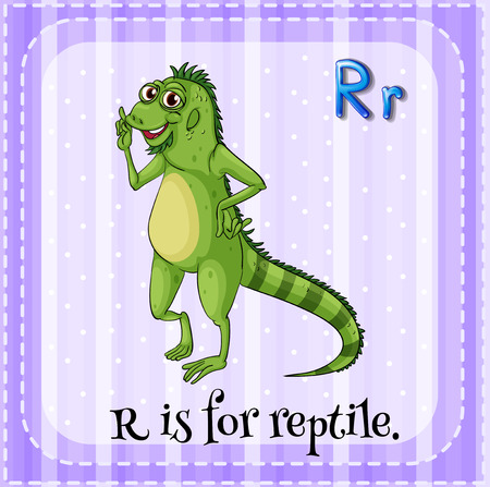 reptile: Flashcard letter R is for reptile