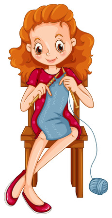 knitting: Woman knitting scarf on the chair Illustration
