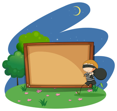 escaping: Their running with a black sack with a blank wooden board in the background Illustration