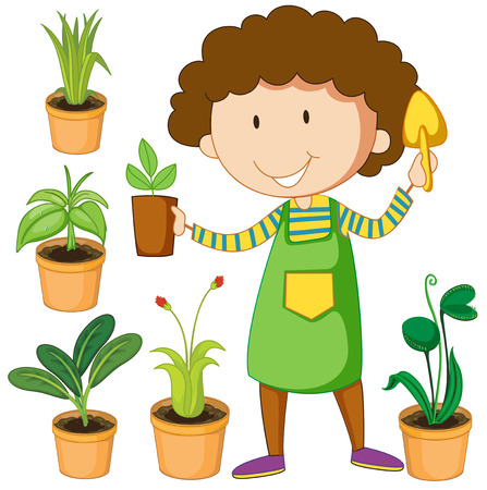 planting: Flashcard of green color set with a female planting green plants Illustration
