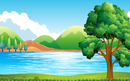 river bank: Nature scene of lake and park Illustration