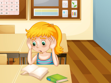 sad cartoon: Girl sitting alone in a classroom looking at blank pages in her book with worried expression