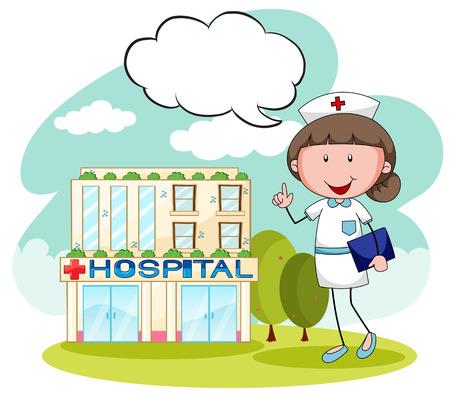 speech bubble hospital: Hospital building with female nurse