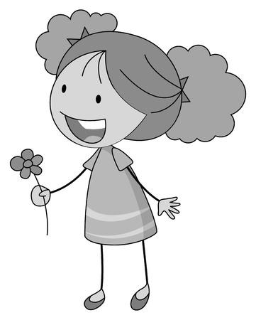 beautiful flower: Little girl holding a beautiful flower
