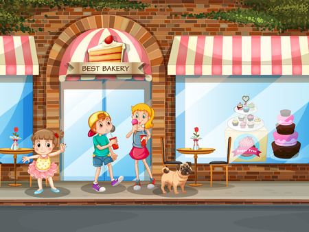 cupcake illustration: Boy and girl eating dessert at the bakery shop