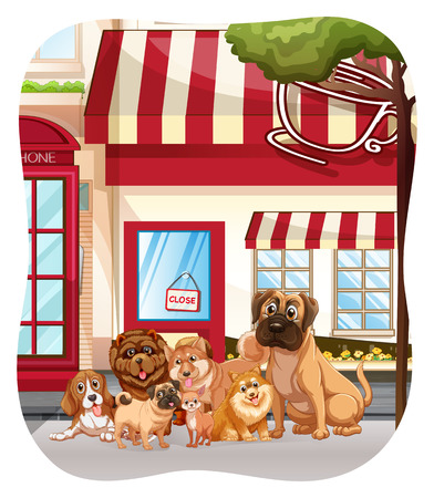 pet breeding: Dogs sitting in front of the coffee shop Illustration