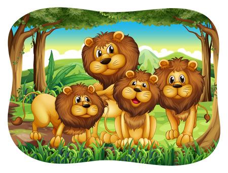 lion dessin: Quatre lions vivant dans la forêt