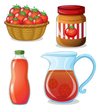 Fresh tomato and other tomato products Stock Vector - 42920558
