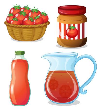 tomate: Tomates fraîches et d'autres produits de la tomate Illustration