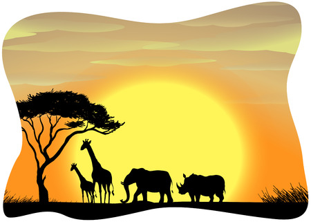 forest clipart: Scenery of wild animals in Africa during the sunset Illustration